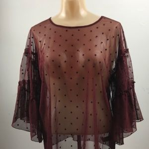 Express Sheer Shirt with Bell Sleeves Size S